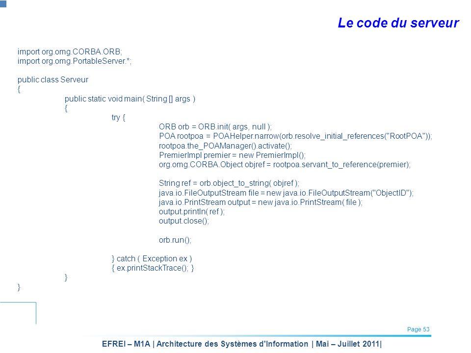 Le code du serveur import org.omg.CORBA.ORB;