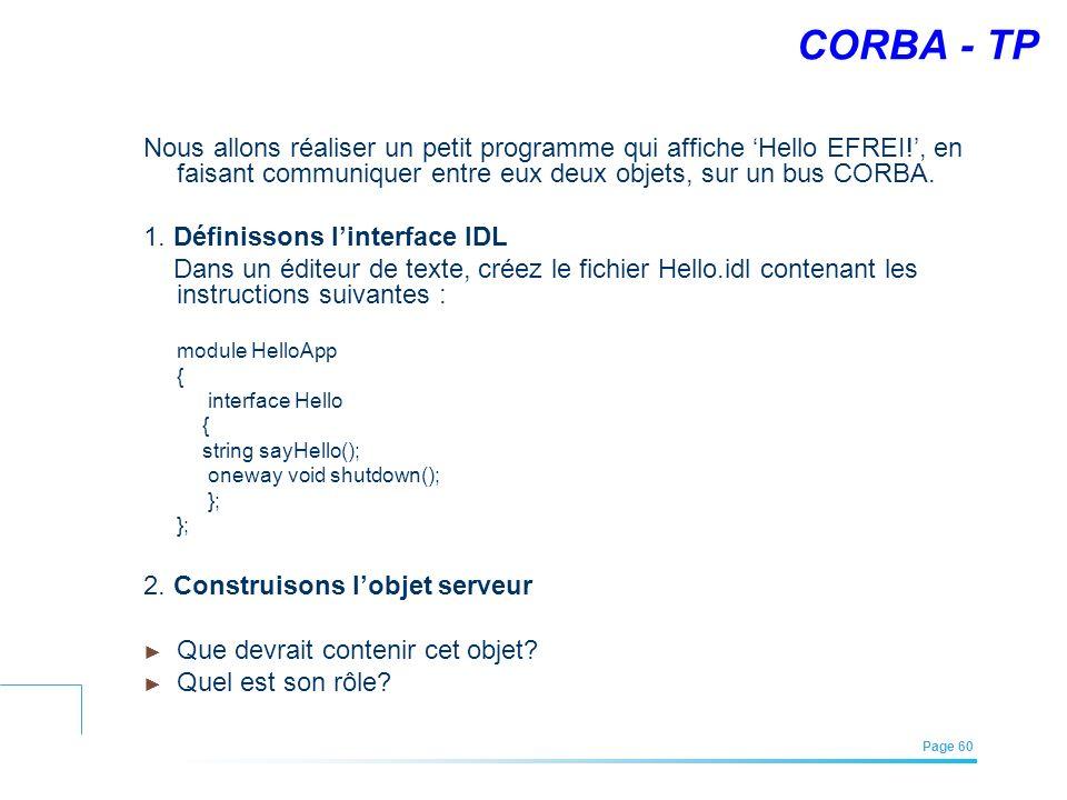 CORBA - TP Nous allons réaliser un petit programme qui affiche 'Hello EFREI!', en faisant communiquer entre eux deux objets, sur un bus CORBA.