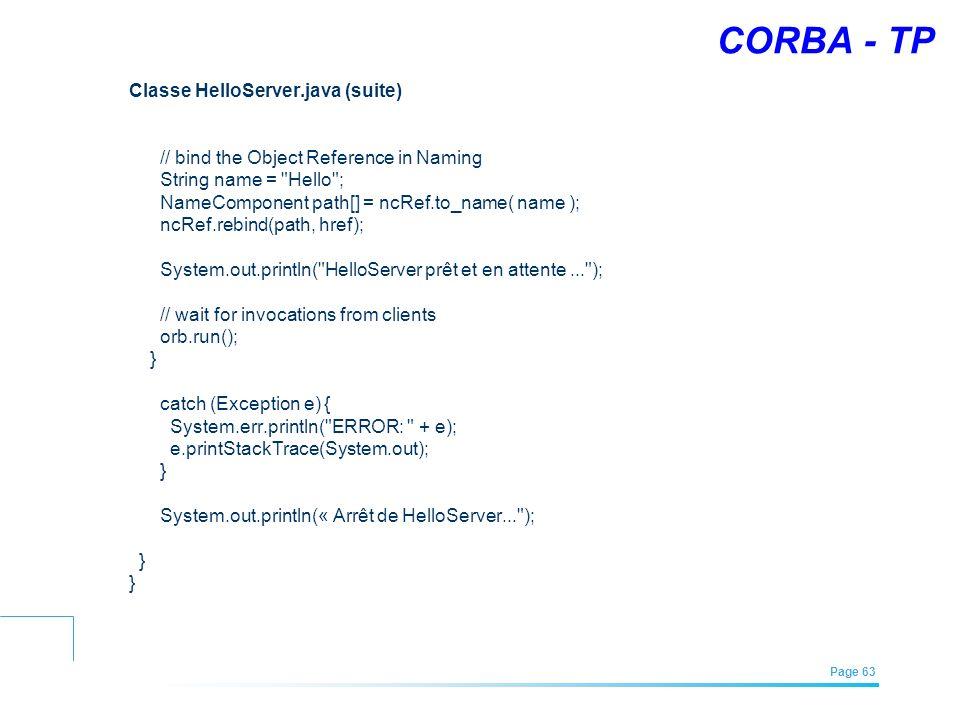 CORBA - TP Classe HelloServer.java (suite)