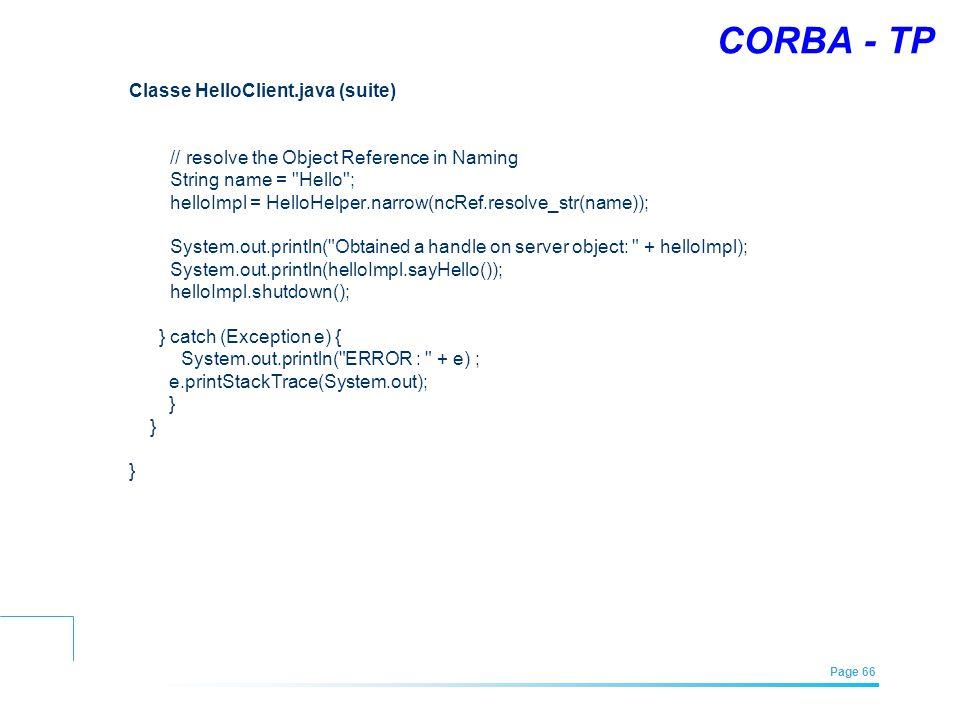 CORBA - TP Classe HelloClient.java (suite)