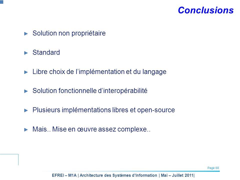 Conclusions Solution non propriétaire Standard