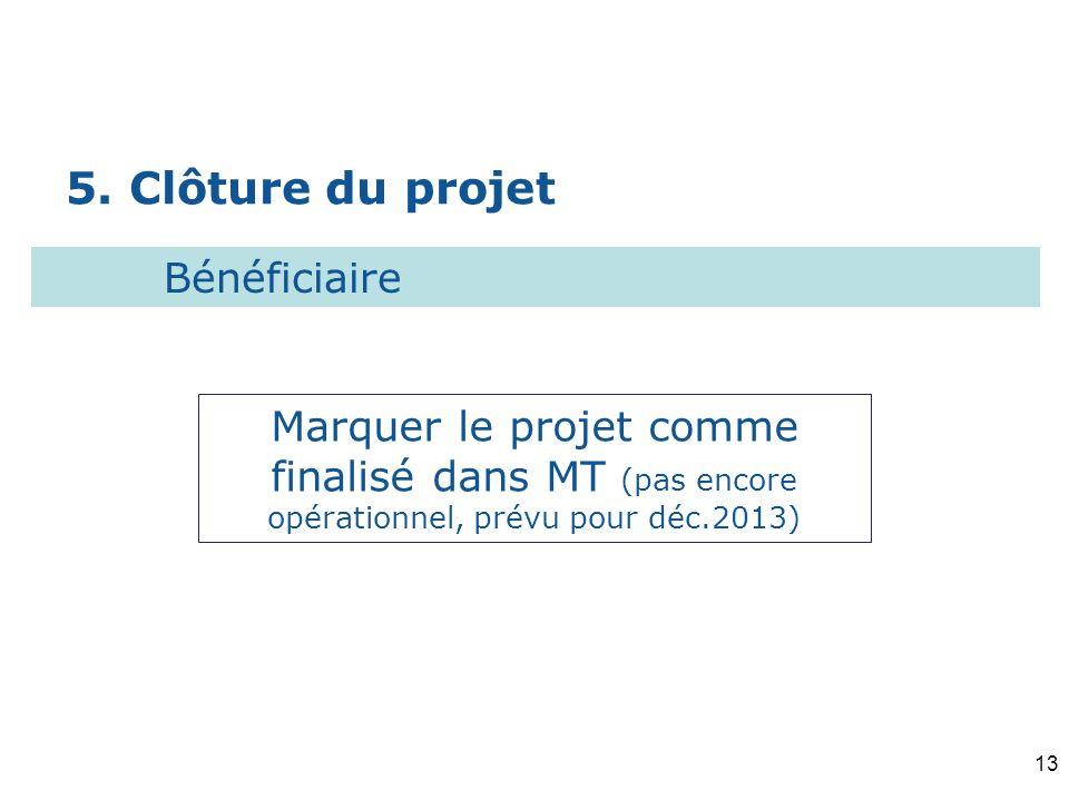 5. Clôture du projet Bénéficiaire