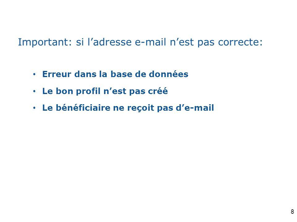 Important: si l'adresse e-mail n'est pas correcte: