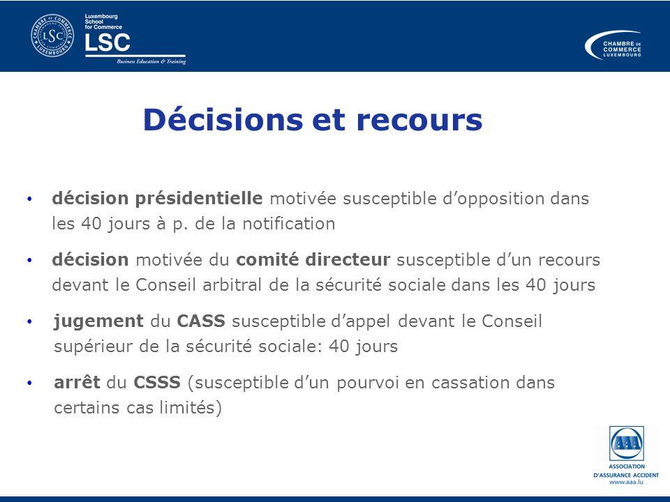 Décisions et recours décision présidentielle motivée susceptible d'opposition dans les 40 jours à p. de la notification.
