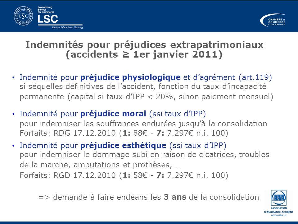 Indemnités pour préjudices extrapatrimoniaux (accidents ≥ 1er janvier 2011)