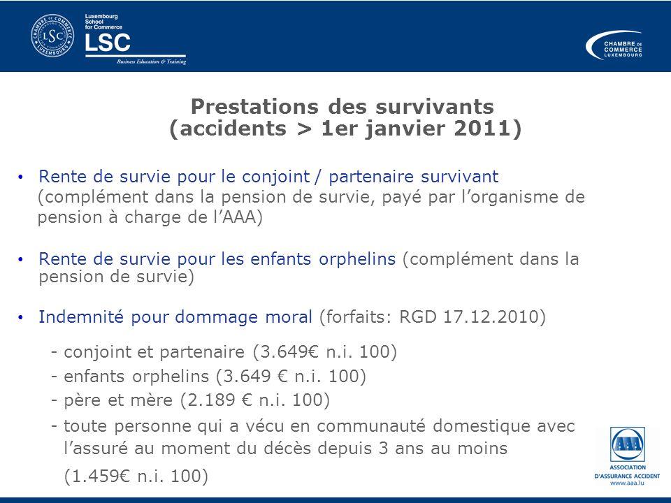 Prestations des survivants (accidents > 1er janvier 2011)