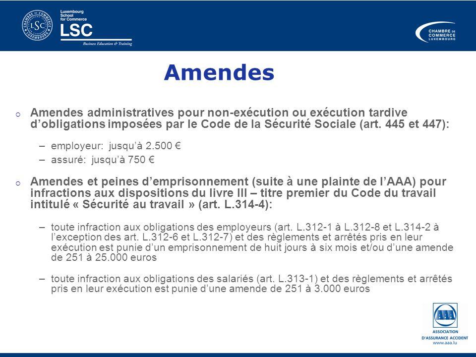 Amendes Amendes administratives pour non-exécution ou exécution tardive d'obligations imposées par le Code de la Sécurité Sociale (art. 445 et 447):