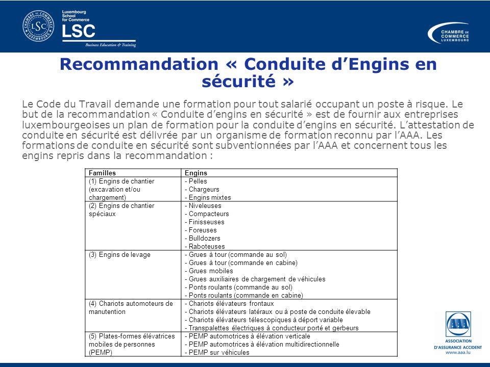 Recommandation « Conduite d'Engins en sécurité »
