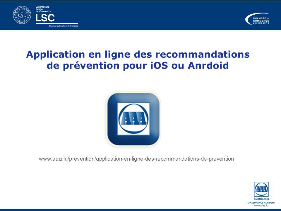 Application en ligne des recommandations de prévention pour iOS ou Anrdoid