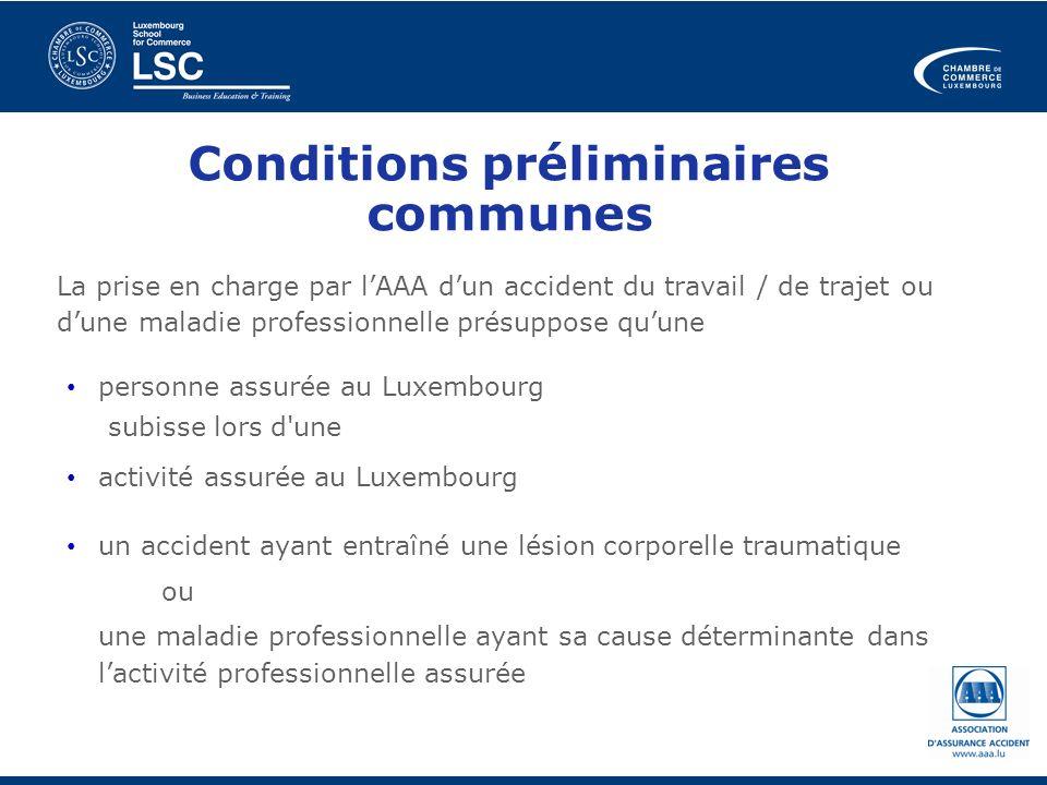 Conditions préliminaires communes
