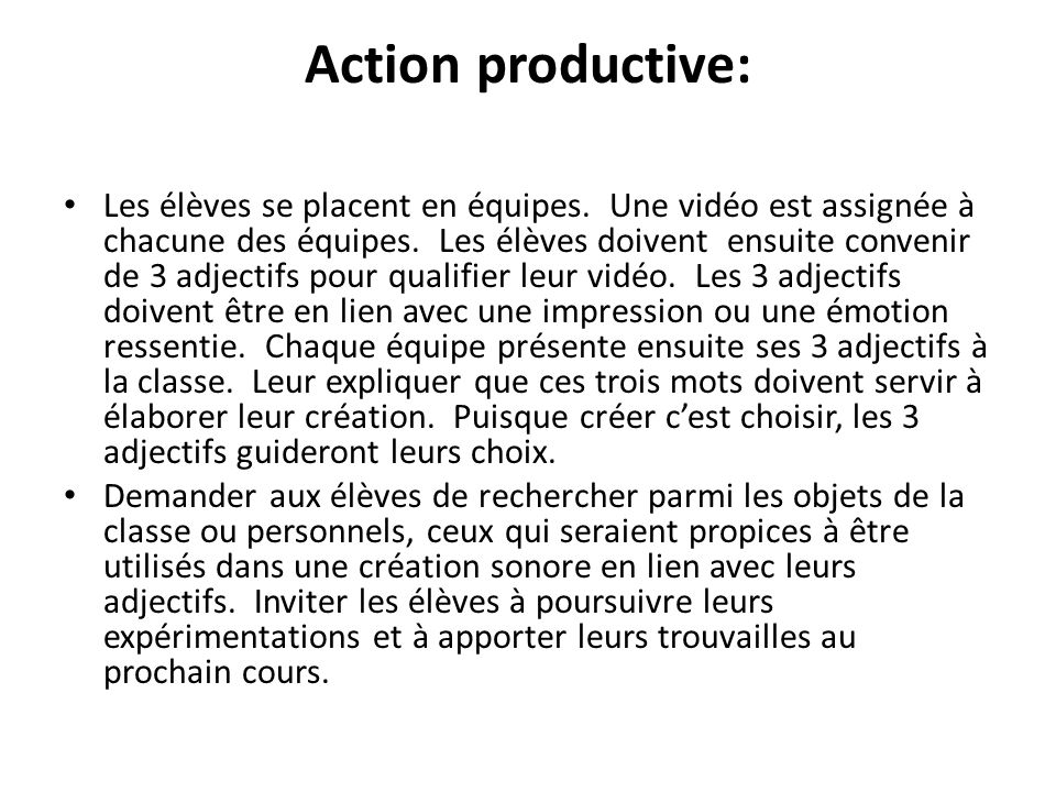 Action productive: