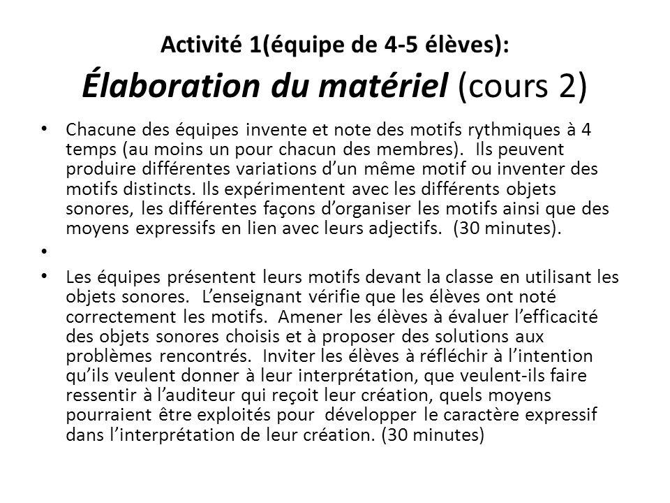 Activité 1(équipe de 4-5 élèves): Élaboration du matériel (cours 2)