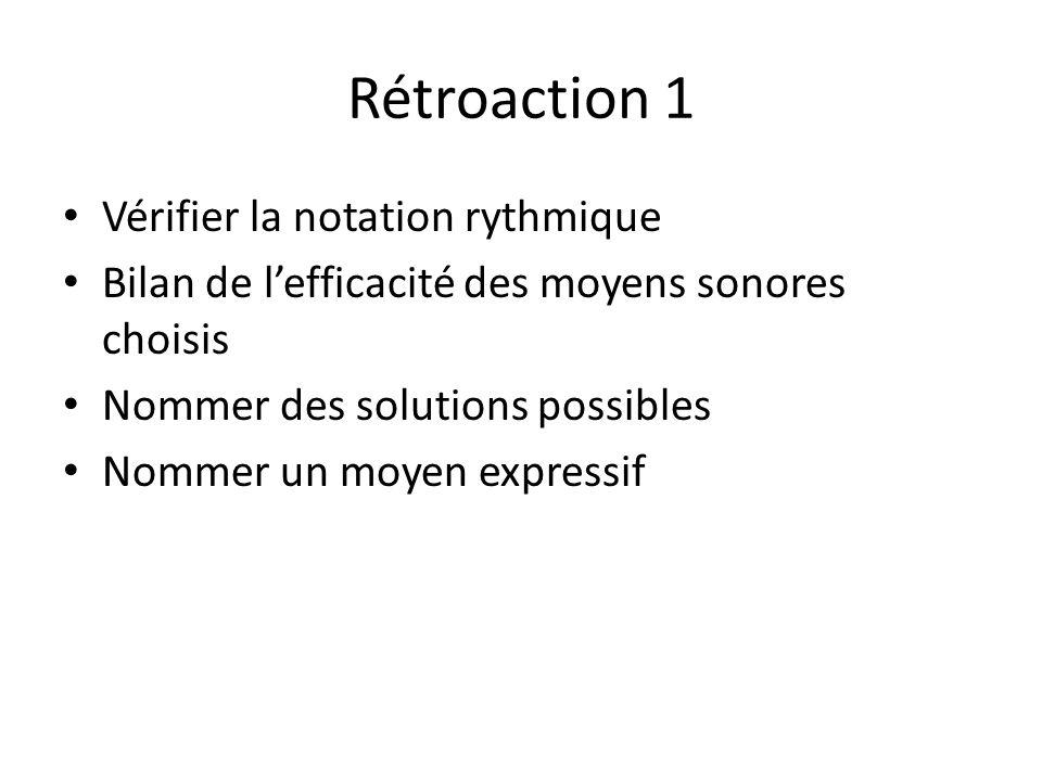Rétroaction 1 Vérifier la notation rythmique