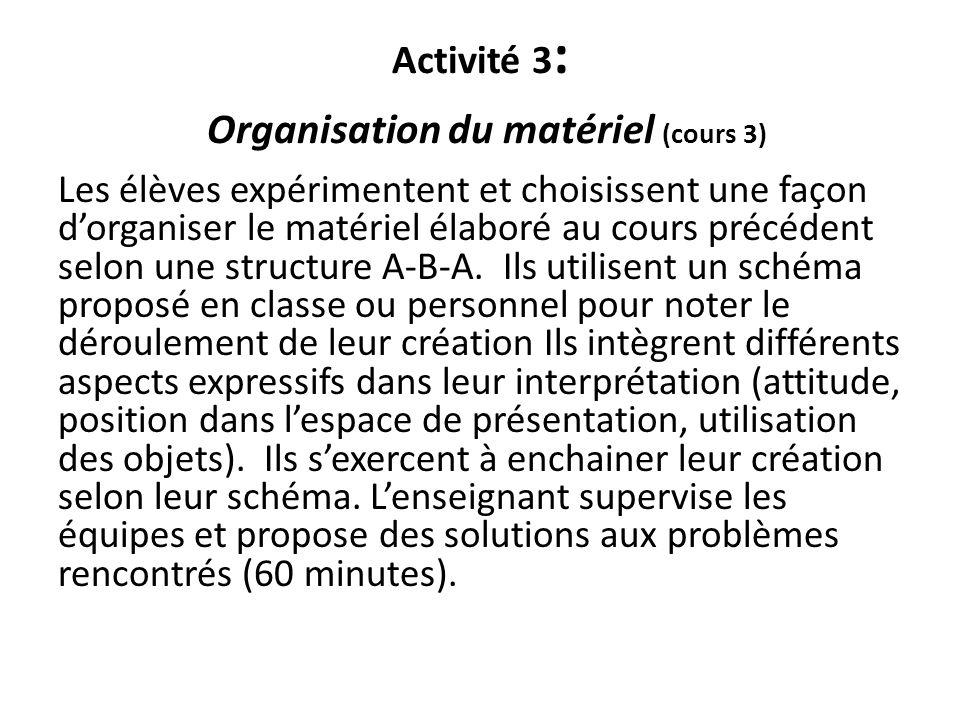 Activité 3: Organisation du matériel (cours 3)
