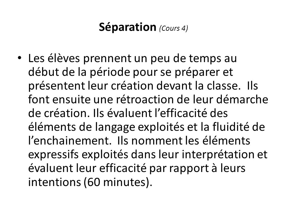 Séparation (Cours 4)