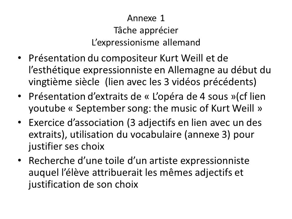 Annexe 1 Tâche apprécier L'expressionisme allemand