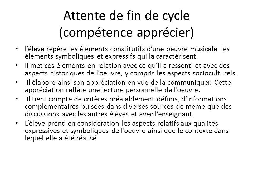 Attente de fin de cycle (compétence apprécier)