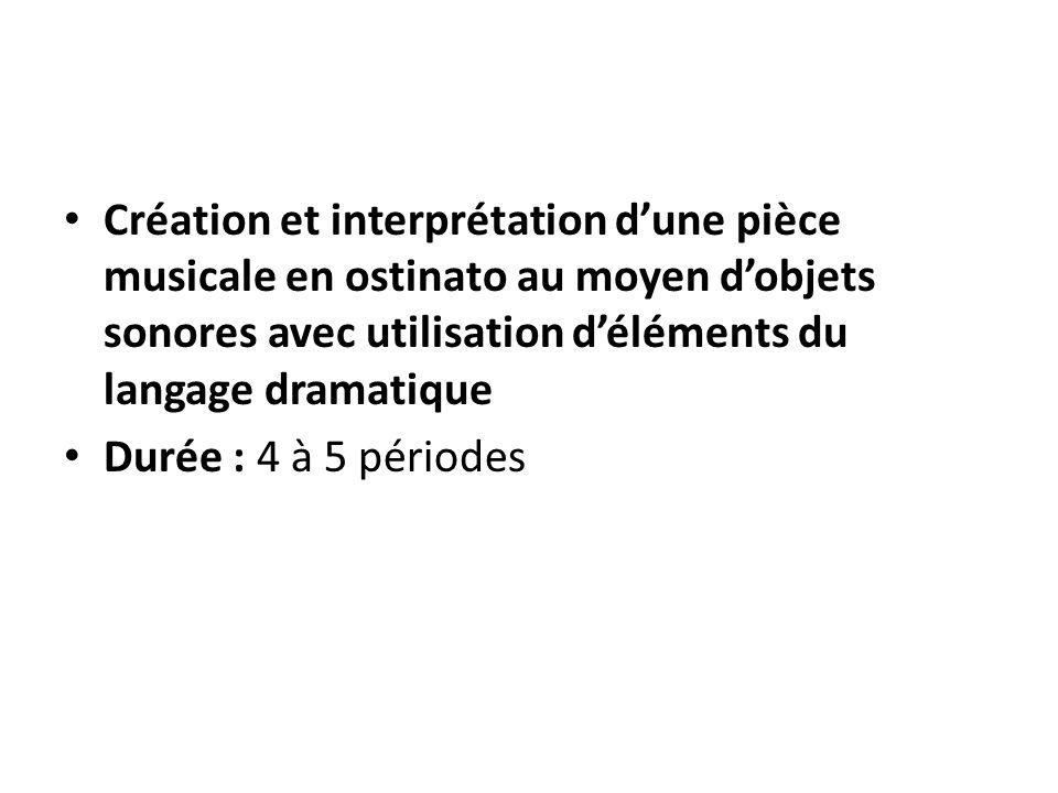 Création et interprétation d'une pièce musicale en ostinato au moyen d'objets sonores avec utilisation d'éléments du langage dramatique