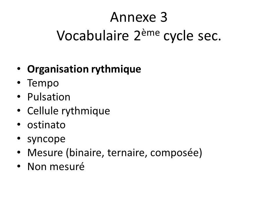 Annexe 3 Vocabulaire 2ème cycle sec.