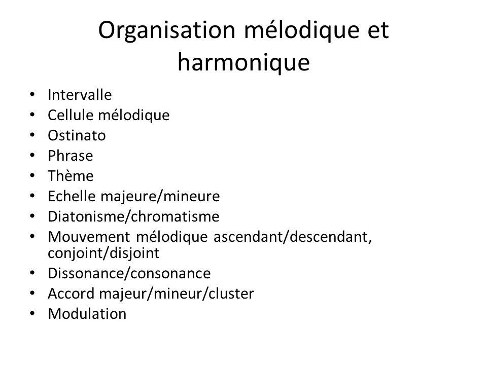 Organisation mélodique et harmonique
