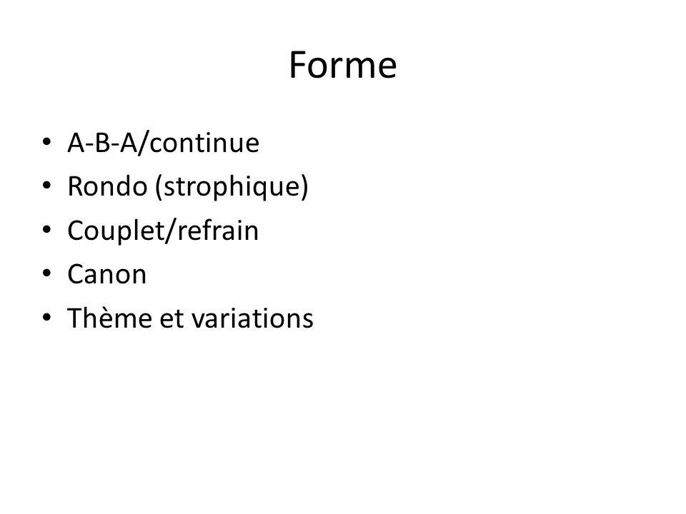 Forme A-B-A/continue Rondo (strophique) Couplet/refrain Canon