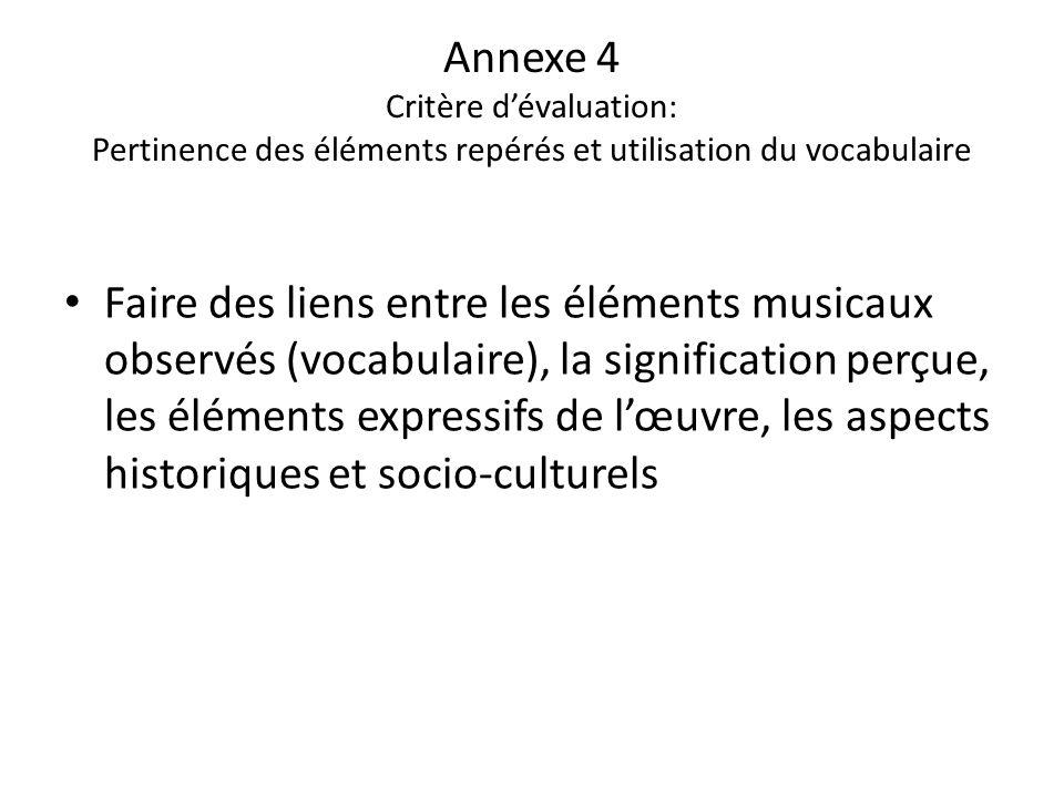 Annexe 4 Critère d'évaluation: Pertinence des éléments repérés et utilisation du vocabulaire