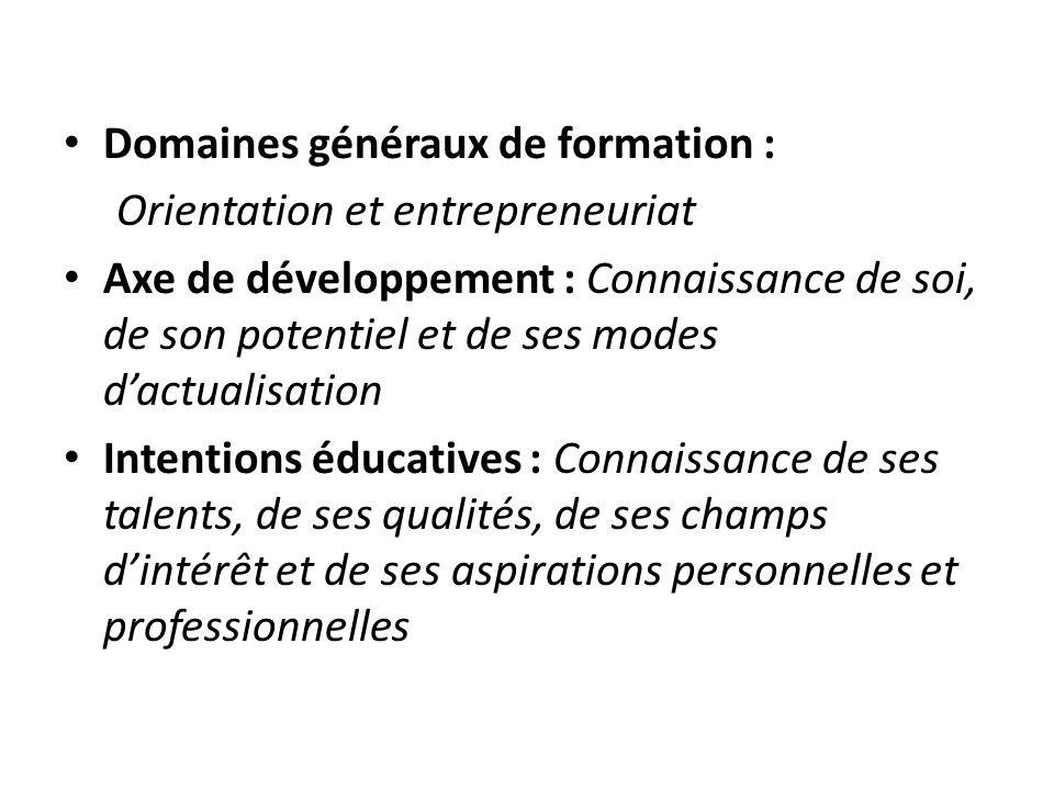 Domaines généraux de formation : Orientation et entrepreneuriat