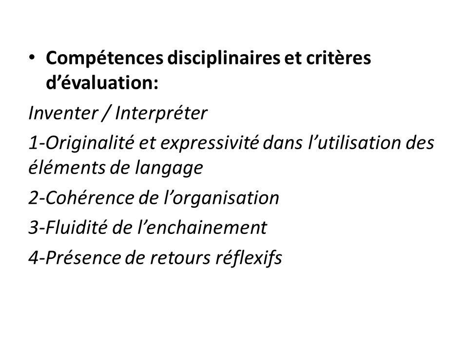 Compétences disciplinaires et critères d'évaluation: