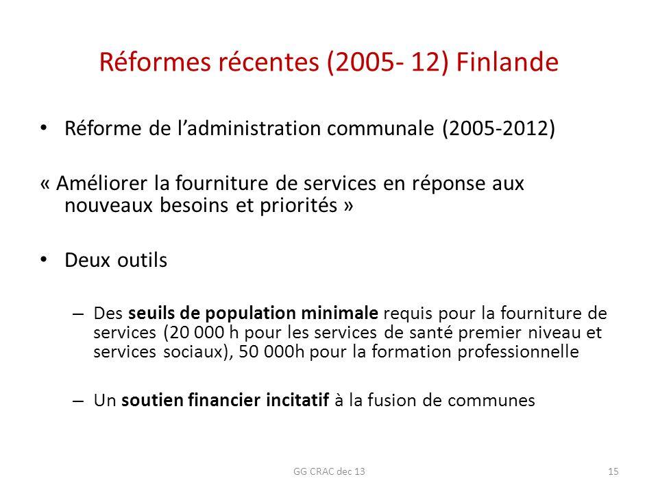 Réformes récentes (2005- 12) Finlande