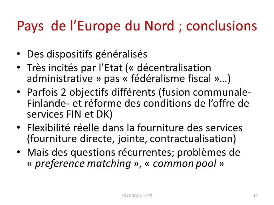 Pays de l'Europe du Nord ; conclusions