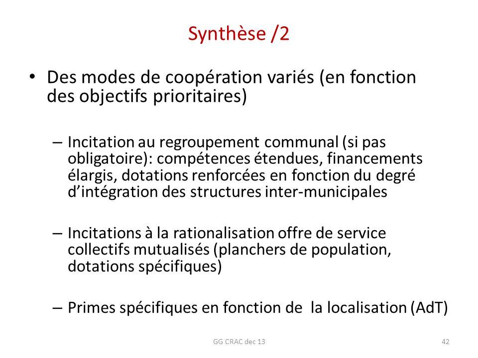 Synthèse /2 Des modes de coopération variés (en fonction des objectifs prioritaires)