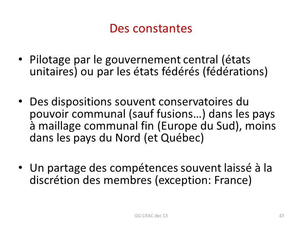 Des constantes Pilotage par le gouvernement central (états unitaires) ou par les états fédérés (fédérations)