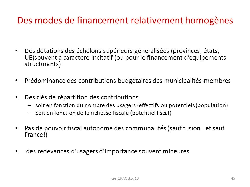 Des modes de financement relativement homogènes