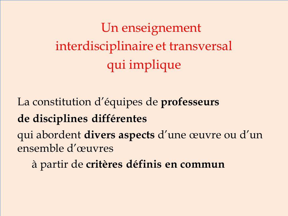 interdisciplinaire et transversal