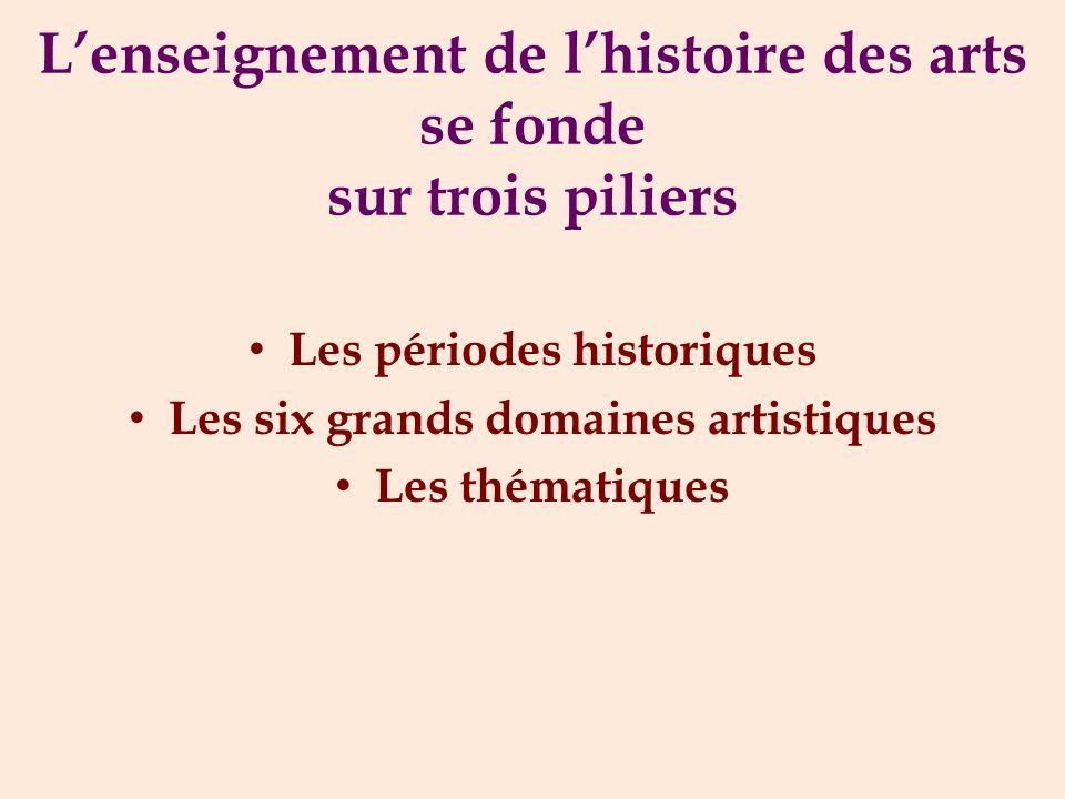 L'enseignement de l'histoire des arts se fonde sur trois piliers