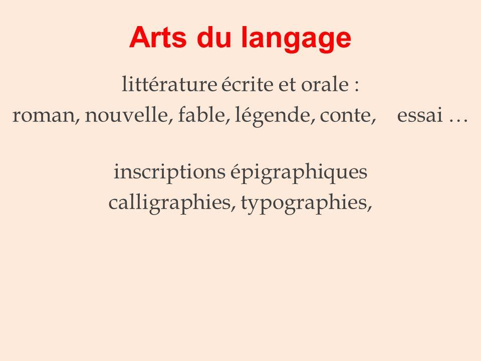 Arts du langage littérature écrite et orale :