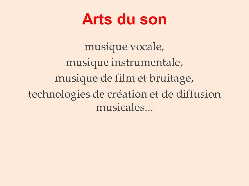 Arts du son musique vocale, musique instrumentale,