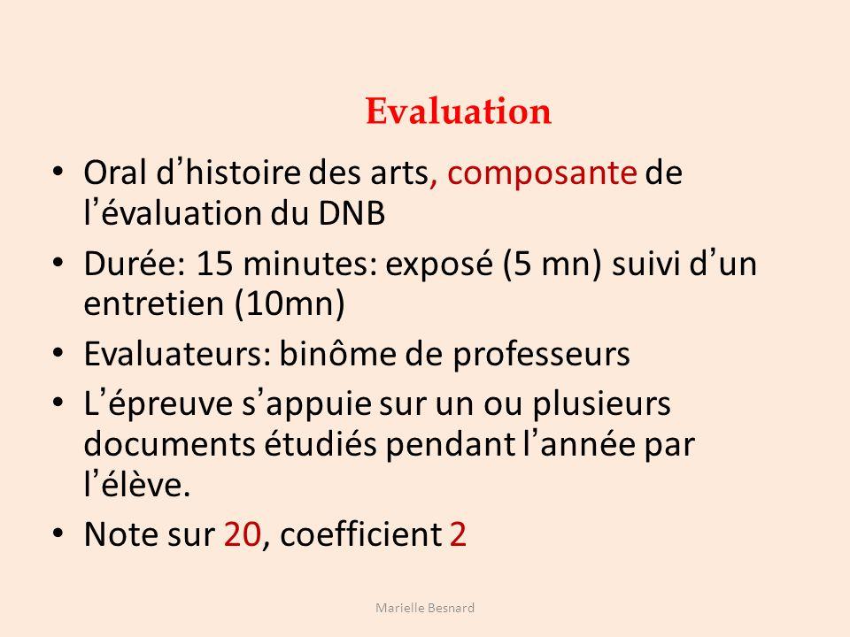 Oral d'histoire des arts, composante de l'évaluation du DNB