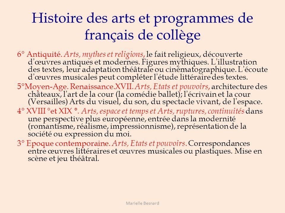 Histoire des arts et programmes de français de collège