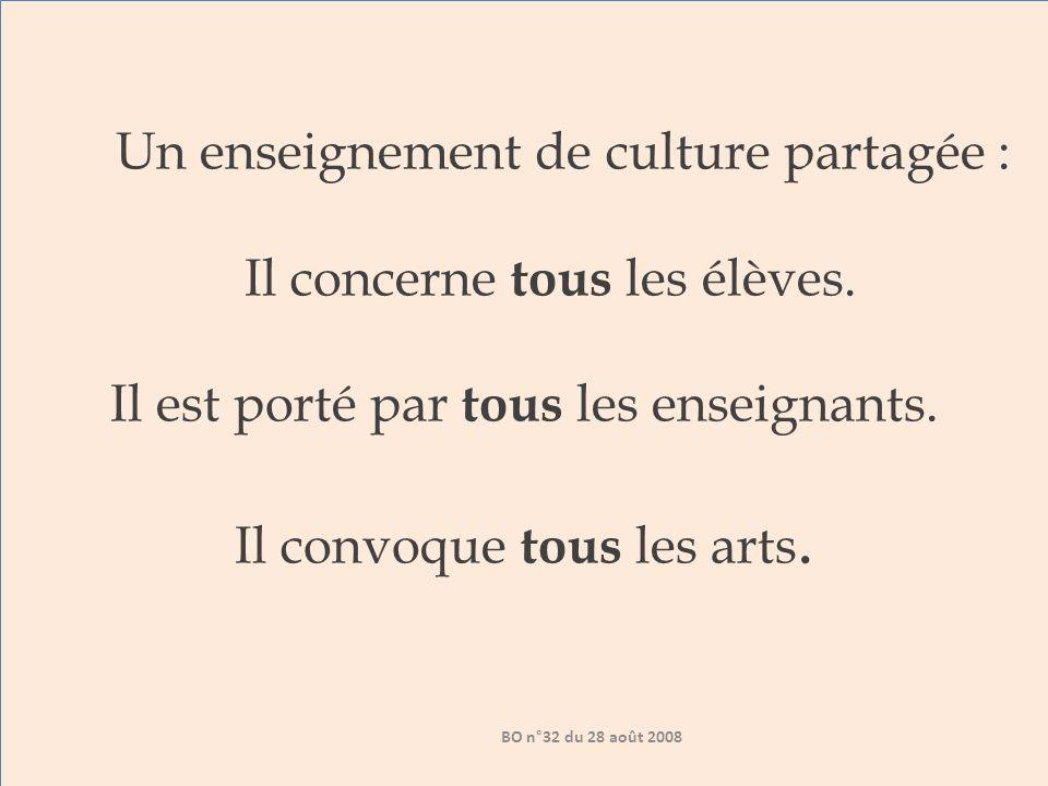 Un enseignement de culture partagée : Il concerne tous les élèves.