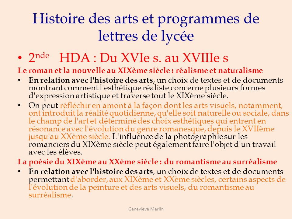 Histoire des arts et programmes de lettres de lycée