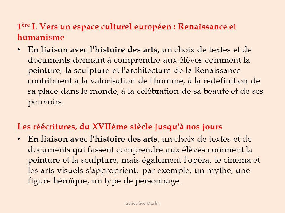 1ère L Vers un espace culturel européen : Renaissance et humanisme