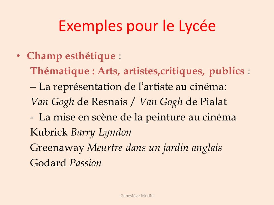 Exemples pour le Lycée Champ esthétique :