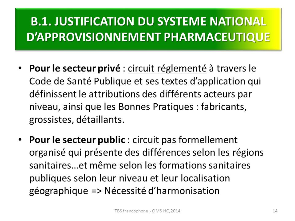 TBS francophone - OMS HQ 2014