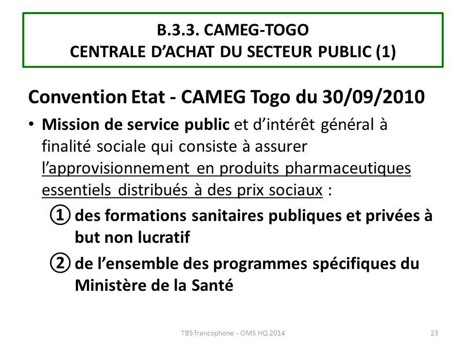 B.3.3. CAMEG-TOGO CENTRALE D'ACHAT DU SECTEUR PUBLIC (1)