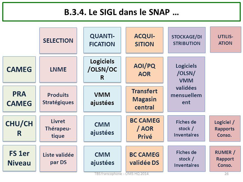 B.3.4. Le SIGL dans le SNAP … CAMEG PRA CAMEG CHU/CHR FS 1er Niveau