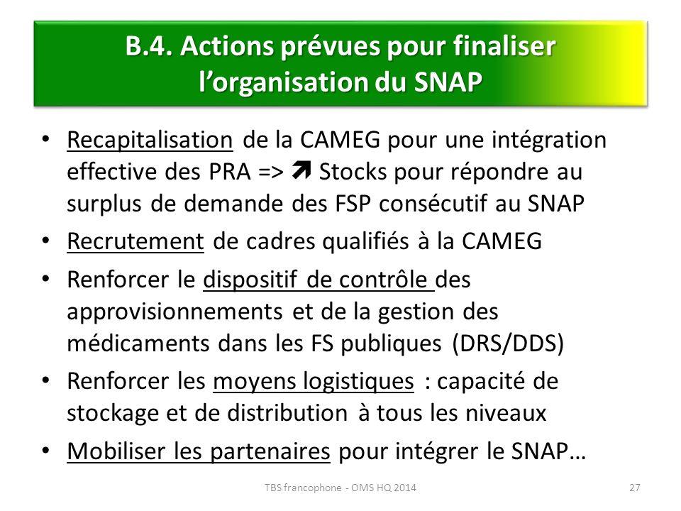 B.4. Actions prévues pour finaliser l'organisation du SNAP