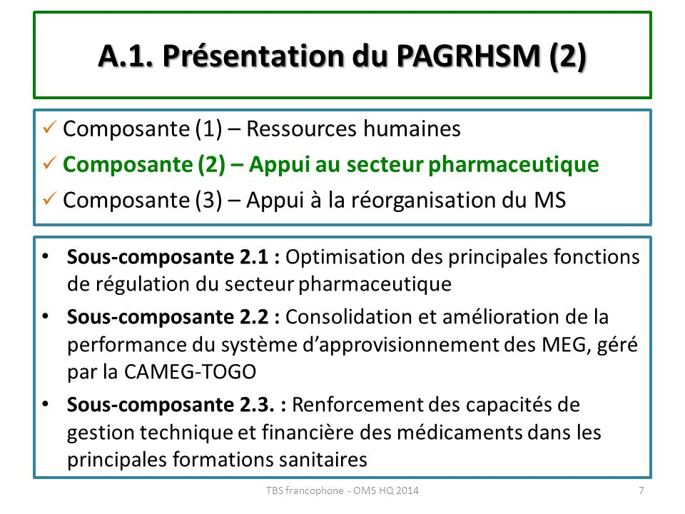 A.1. Présentation du PAGRHSM (2)