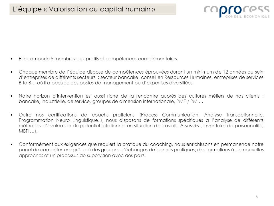 L'équipe « Valorisation du capital humain »