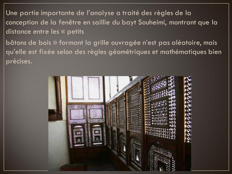 Une partie importante de l'analyse a traité des règles de la conception de la fenêtre en saillie du bayt Souheimi, montrant que la distance entre les « petits bâtons de bois » formant la grille ouvragée n'est pas aléatoire, mais qu'elle est fixée selon des règles géométriques et mathématiques bien précises.